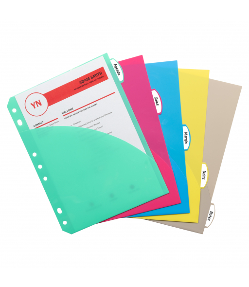 Mini Size 5-Tab Poly Index Dividers, Assorted Colors with Slant Pockets, 5/ST, 03750