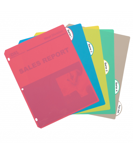 5-Tab Poly Binder Index Dividers, Assorted, 5/ST, 05730