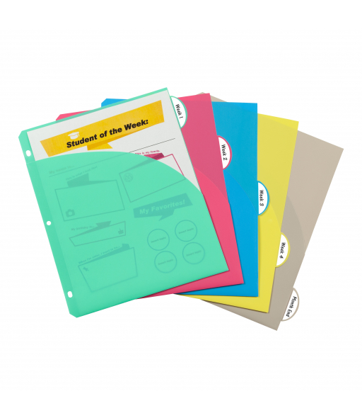 5-Tab Poly Binder Index Dividers with Slant Pockets, Assorted, 5/ST, 05750