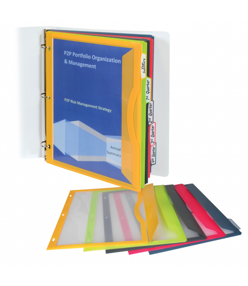 Binder Pocket with Write-on Index Tabs, Assorted, 8 1/2 x 11, 5/ST, 06650