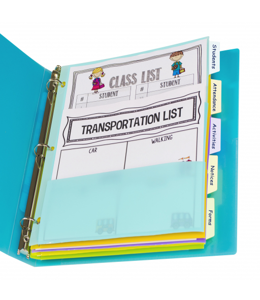 5-Tab Index Dividers with Multi-Pockets, Bright Color Assortment, 5/ST, 07650