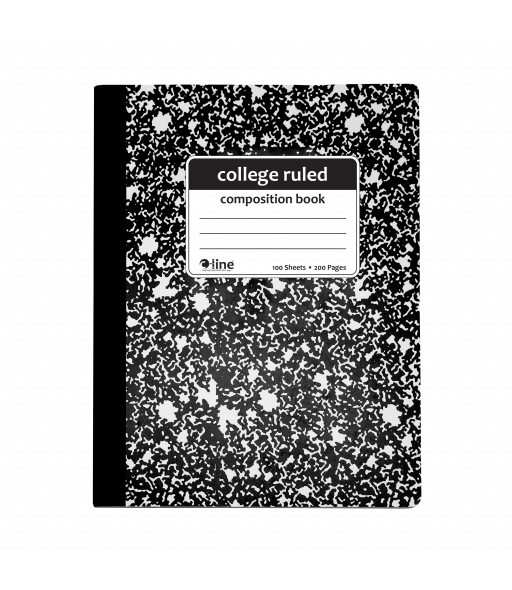 Composition Notebook, College Ruled, Black Marble, 1/EA, 22022