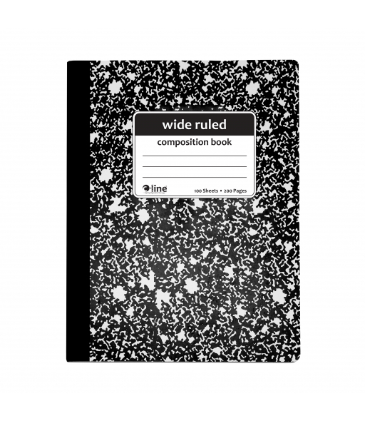 Composition Notebook, Wide Ruled, Black Marble, 1/EA, 22024
