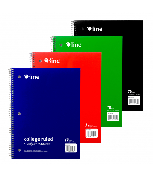 1-Subject Notebook College Ruled, Assorted, 1/EA, 22035