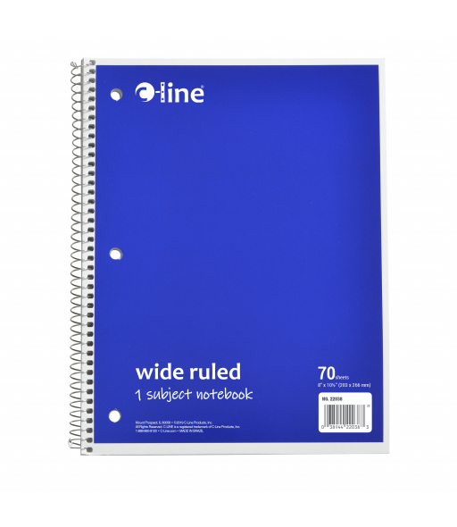1-Subject Notebook, Wide Ruled, Blue, 1/EA, 22038