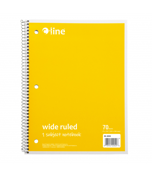 1-Subject Notebook, Wide Ruled, Yellow, 1/EA, 22040