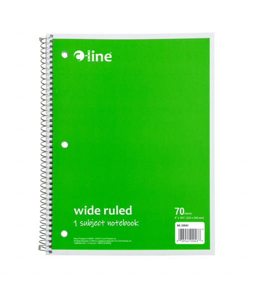 1-Subject Notebook, Wide Ruled, Green, 1/EA, 22043