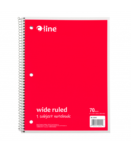 1-Subject Notebook, Wide Ruled, Red, 1/EA, 22044