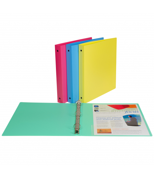3-Ring Poly Binder, 1 inch Capacity, Assorted, 1/EA, 31710