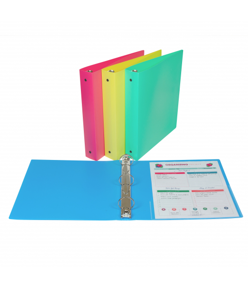 3-Ring Poly Binder, 1 1/2 inch Capacity, Assorted, 1/EA, 31720
