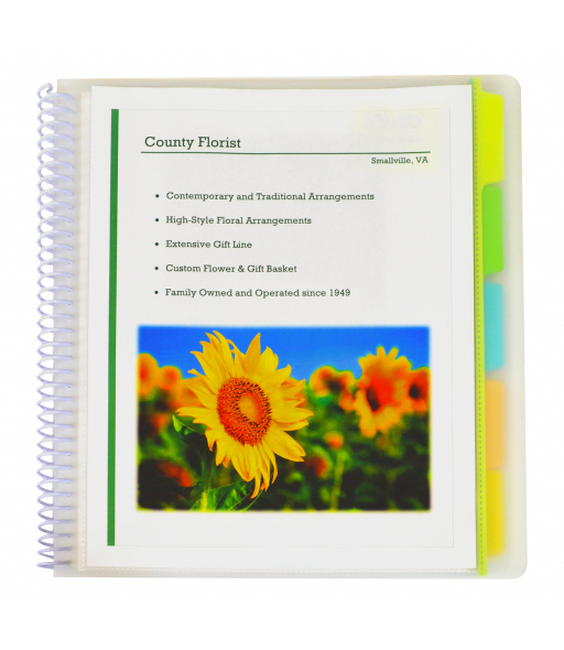 Spiral Bound 10-Pocket Poly Portfolio with Write-on Tabs, Clear with Assorted Tabs, 1/EA, 33650
