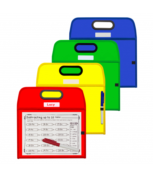 Portable Dry Erase Pockets, Assorted Primary Colors, 10 x 13, 1/EA, 40210