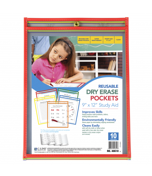 Reusable Dry Erase Pockets, Assorted Primary Colors, 9 x 12, 10/PK, 40610