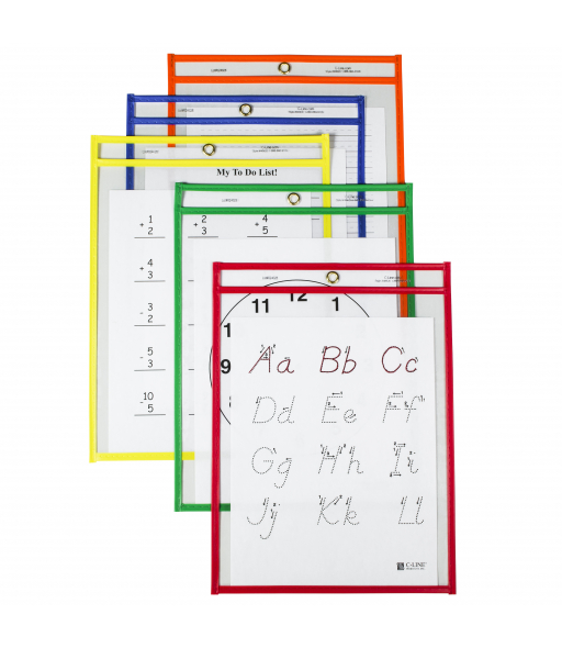Reusable Dry Erase Pockets, Assorted Primary Colors, 9 x 12, 25/BX, 40620