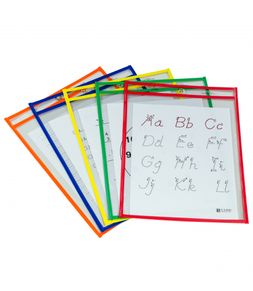 Reusable Dry Erase Pockets, Assorted Primary Colors,  9 x 12, 5/PK, 40630