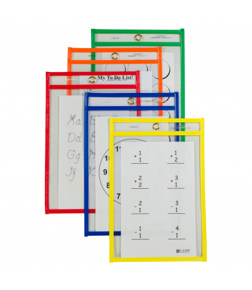 Reusable Dry Erase Pockets, Assorted Primary Colors, 6 x 9, 10/PK, 41610