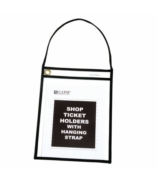 Black shop ticket holders w/hanging strap (stitched) both sides clear, 9 x 12, 15/BX, 5BX/CT
