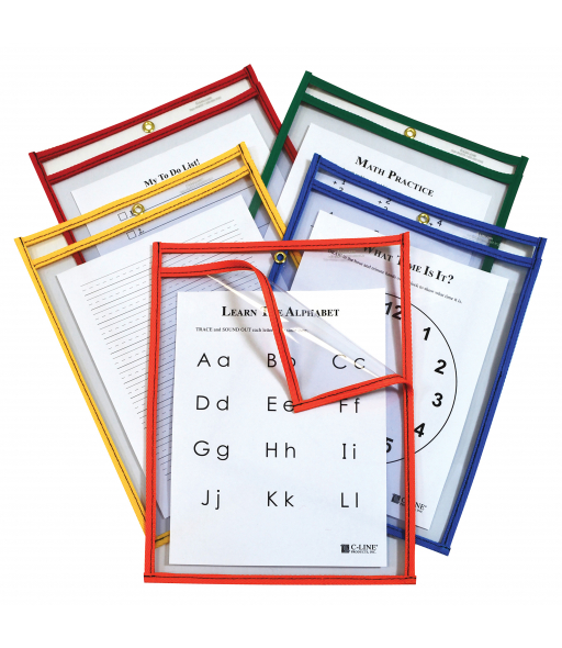 Super Heavyweight Plus Dry Erase Pockets, Assorted Primary Colors, 9 x 12, 25/BX, 42620