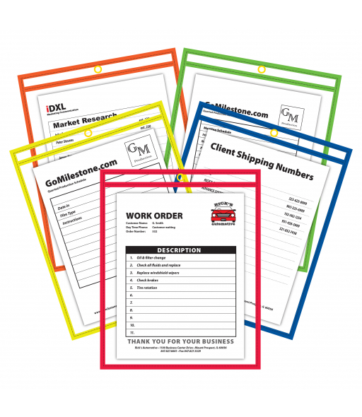 Neon shop ticket holder, assorted, 5/color, (stitched) both sides clear, 9 x 12, 25/BX, 5BX/CT