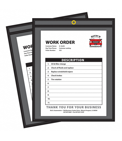 Shop ticket holders (stitched) one side clear, 9 x 12, 25/BX, 5BX/CT