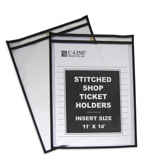 Shop ticket holders (stitched) both sides clear, 11 x 14, 25/BX, 8BX/CT