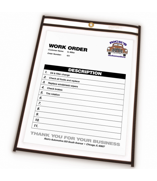 Shop ticket holders (stitched) both sides clear, 8½ x 11, 25/BX, 5BX/CT