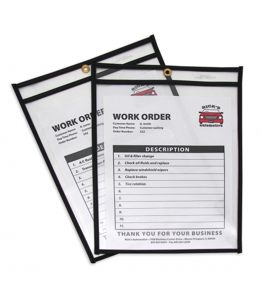 Shop ticket holders (stitched) both sides clear, 9 x 12, 25/BX, 5BX/CT