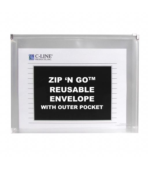 Zip 'N Go Reusable Envelope with Outer Pocket, Clear, 3/PK, 48117