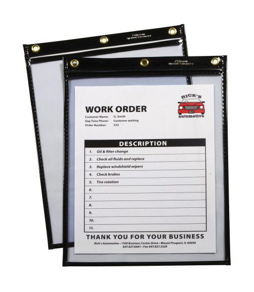 Shop ticket holders (stitched) both sides clear, super heavyweight plus, black, 9 x 12, 15/BX, 5BX/CT