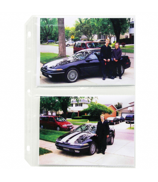 35mm Ring Binder Photo Storage Pages - 5 x 7, Traditional clear - side load, 11 1/4 x 8 1/8, 50/BX, 52572