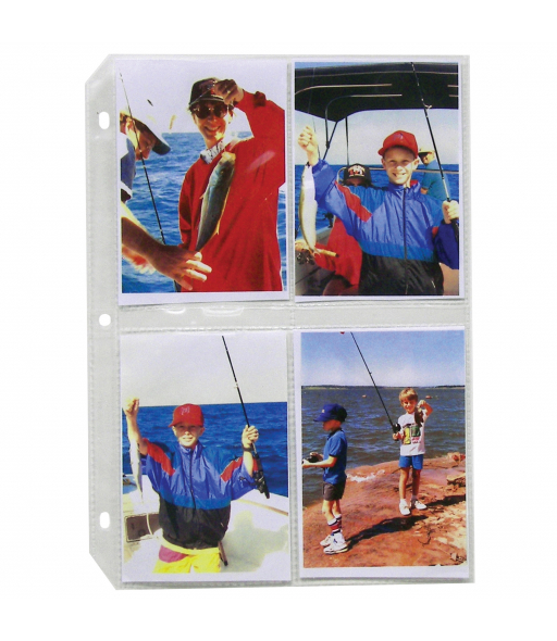 35mm Ring Binder Photo Storage Pages - 3 1/2 x 5, Traditional clear - top load, 11 1/4 x 8 1/8, 50/BX, 52584