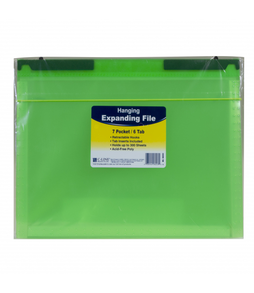7-Pocket Expanding File with Hanging Tabs, Bright Green, 1/EA, 58203