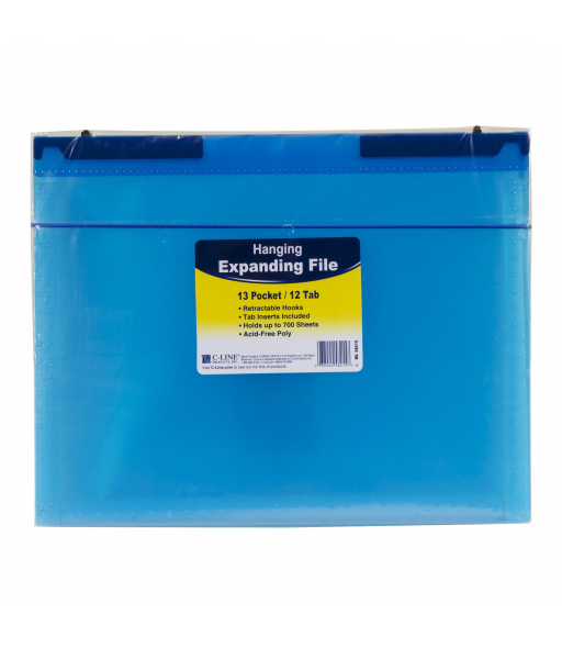 13-Pocket Expanding File with Hanging Tabs, Bright Blue, 1/EA, 58215