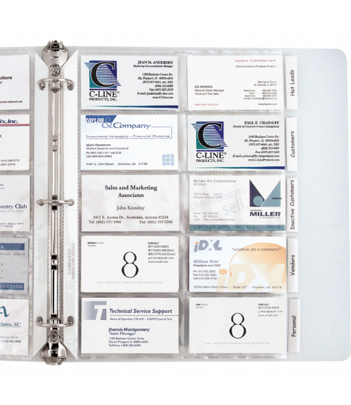 Business Card Holder, Poly with tabs, holds 20 cards/page, 11 x 8 1/2, 5/PK, 61117