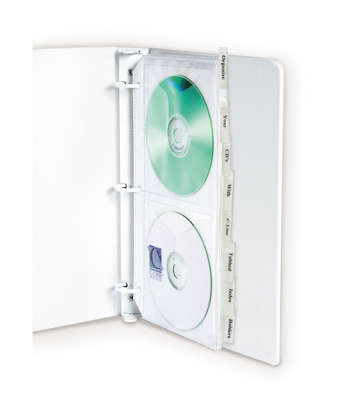 Deluxe CD Ring Binder Storage, Standard with index tabs, Stores 4 CDs, 8/PK, 61918