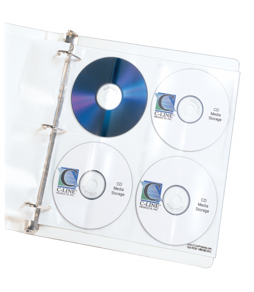 Deluxe CD Ring Binder Storage Pages, Standard, Stores 8 CDs, 5/PK, 61948