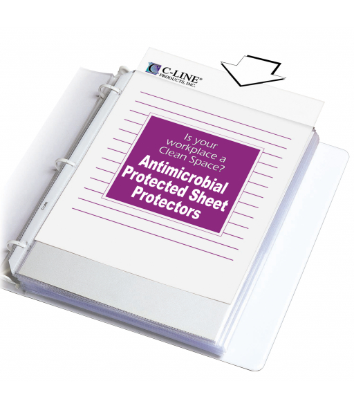 Heavyweight Sheet Protectors with Antimicrobial Protection, Clear, 11 x 8 1/2, 100/BX, 62033