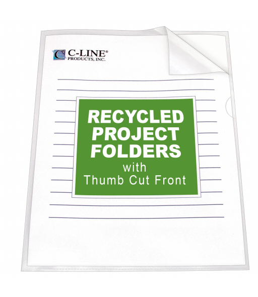 Recycled Project Folders, Clear - Reduced glare, 11 x 8 1/2, 25/BX, 62127