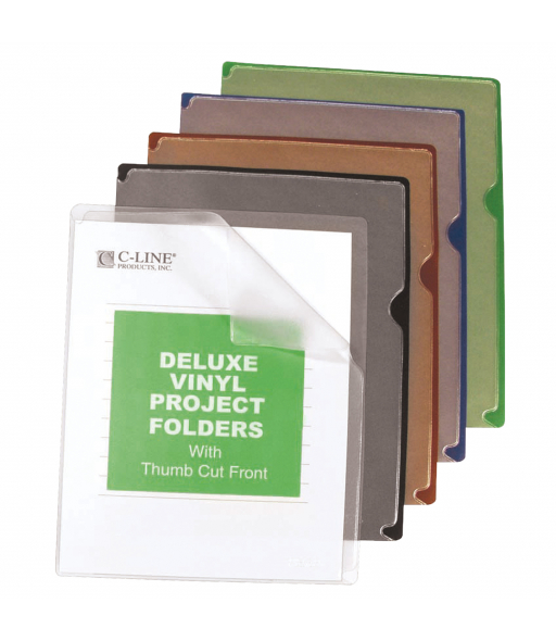 Deluxe Vinyl Project Folders With Colored Backs, 11 x 8 1/2, 35/BX, 62150
