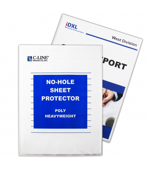 No-Hole Sheet Protector, Clear, 11 x 8 1/2, 25/BX, 62907