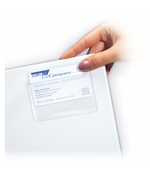 Self-Adhesive Business Card Holder, top load, 2 x 3 1/2, 10/PK, 70257