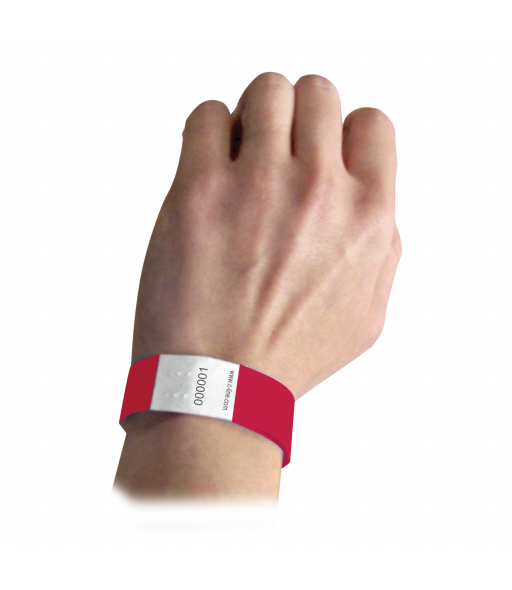 DuPont Tyvek Security Wristbands, Red, 100/PK, 89104