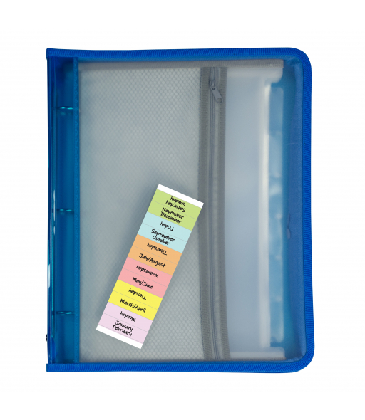 Zippered Binder with Expanding File, Blue, 1/EA, 48115