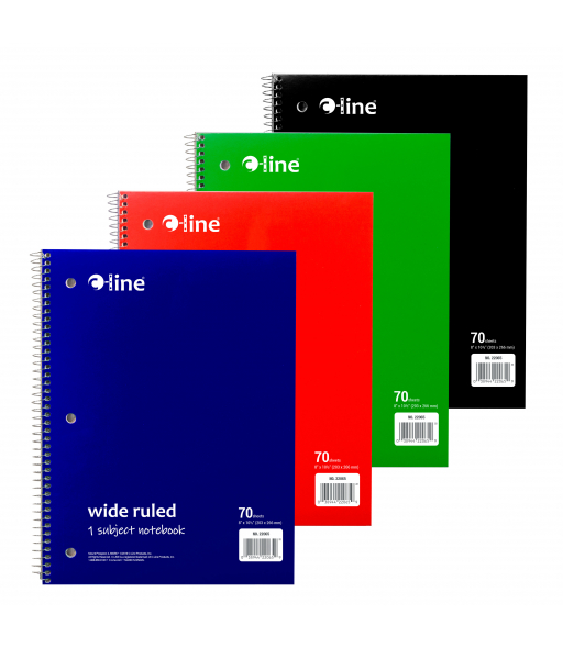 Notebooks, 1 Subject, WR, Perf, 70 Ct., Asst., 1/EA, 24EA/CT