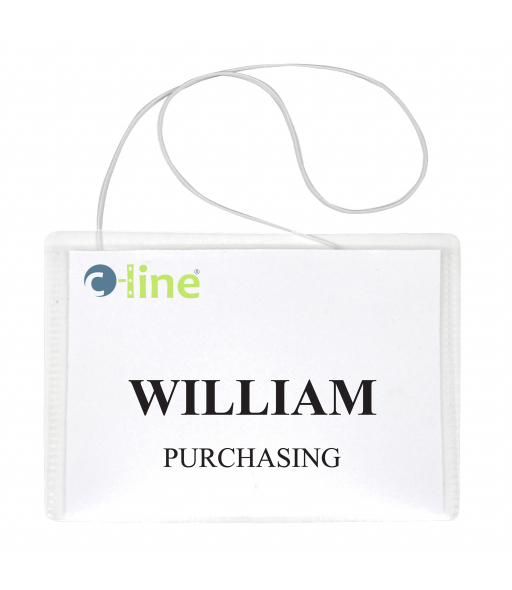 Hanging Style Name Badge Kit w/White Elastic Cord, Sealed with Inserts, 4 x 3, 50/BX, 96043